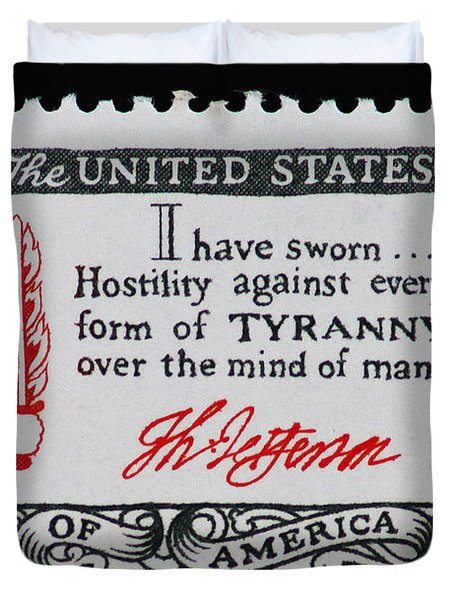 Thomas Jefferson American Credo Vintage Postage Stamp Print Duvet Cover