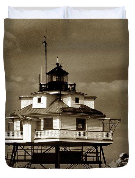 Thomas Point Shoal Lighthouse Sepia Duvet Cover