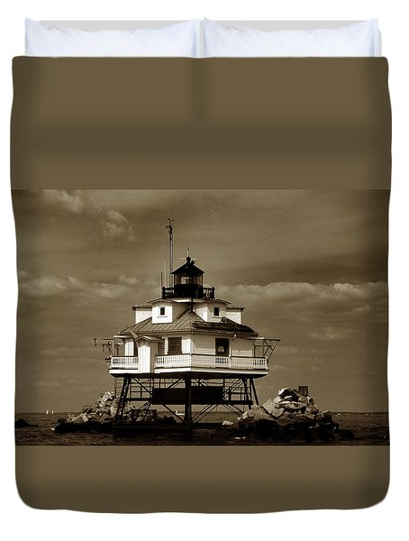 Thomas Point Shoal Lighthouse Sepia Duvet Cover