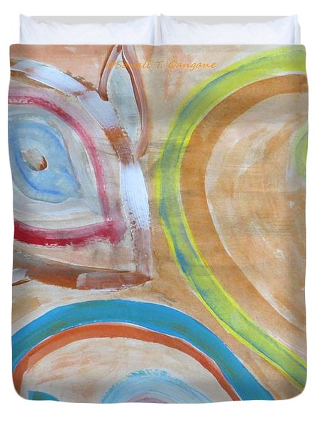 Duvet Cover featuring the painting Thought by Sonali Gangane