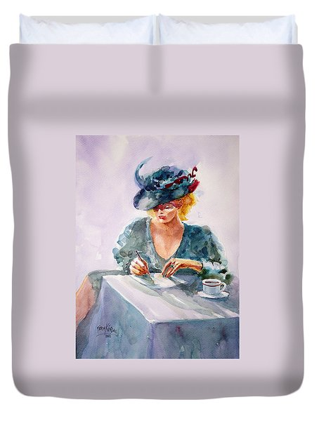 Duvet Cover featuring the painting Thoughtful... by Faruk Koksal
