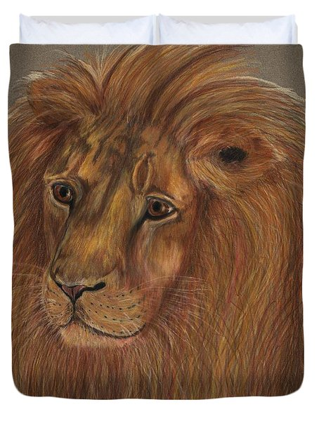 Duvet Cover featuring the drawing Thoughtful Lion 2 by Stephanie Grant