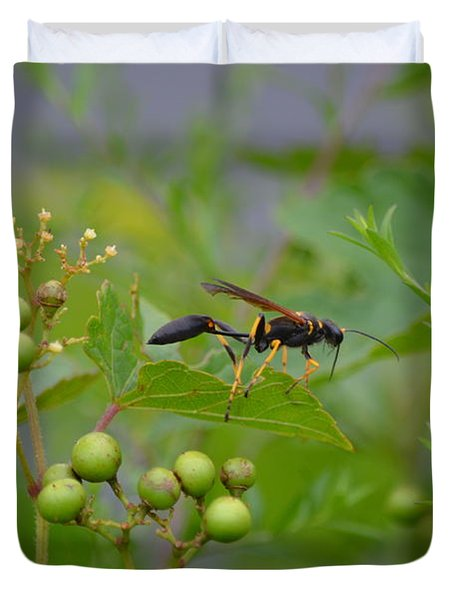 Duvet Cover featuring the photograph Thread-waist Wasp by James Petersen