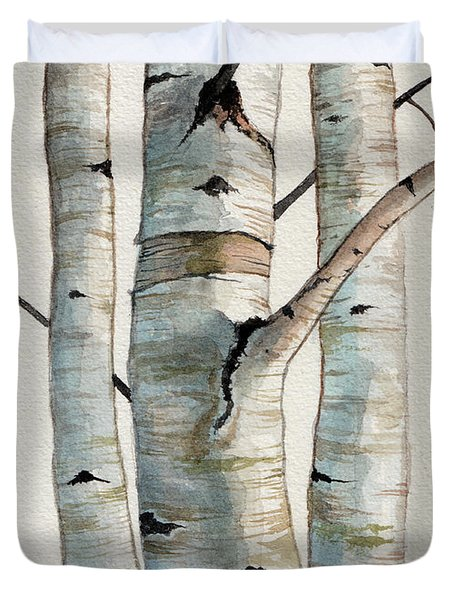 Three Birch Trees Duvet Cover