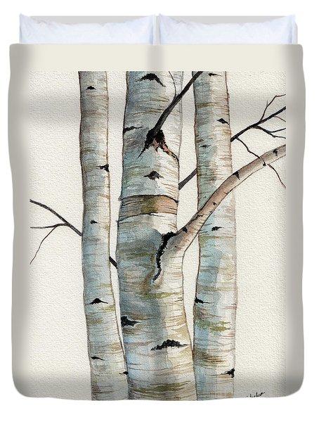 Three Birch Trees Duvet Cover