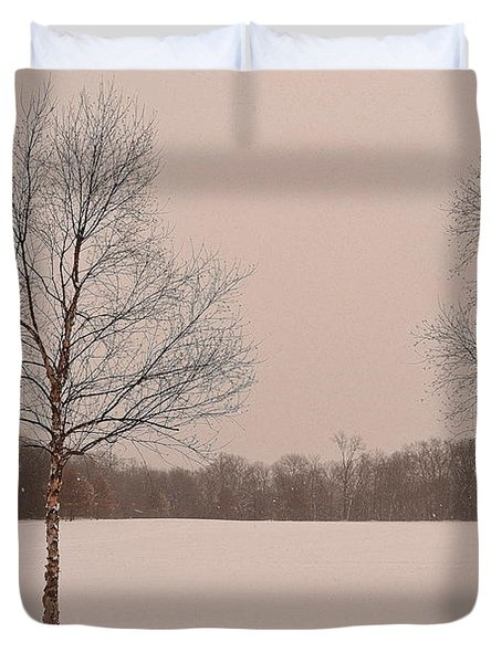 Three Birch Trees In Winter Duvet Cover