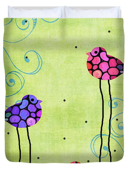 Three Birds - Spring Art By Sharon Cummings Duvet Cover by Sharon Cummings