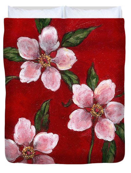 Three Blossoms On Red Duvet Cover