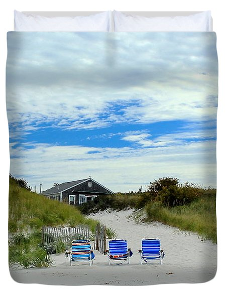 Three Blue Beach Chairs Duvet Cover