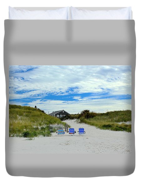 Three Blue Beach Chairs Duvet Cover by Amazing Jules