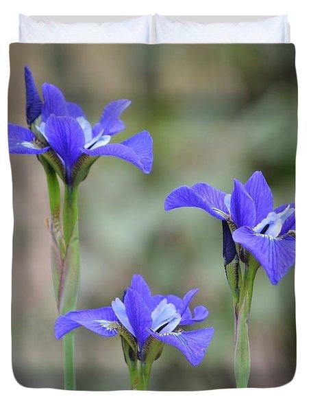 Three Blue Iris Duvet Cover