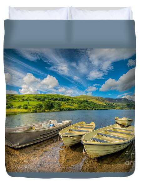 Three Boats Duvet Cover by Adrian Evans