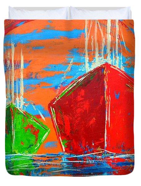 Three Boats Sailing In The Ocean Duvet Cover by Patricia Awapara