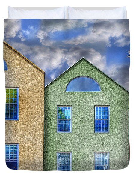 Three Buildings And A Bird Duvet Cover