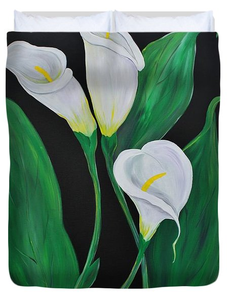 Duvet Cover featuring the painting Three Calla Lilies On Black by Janice Rae Pariza