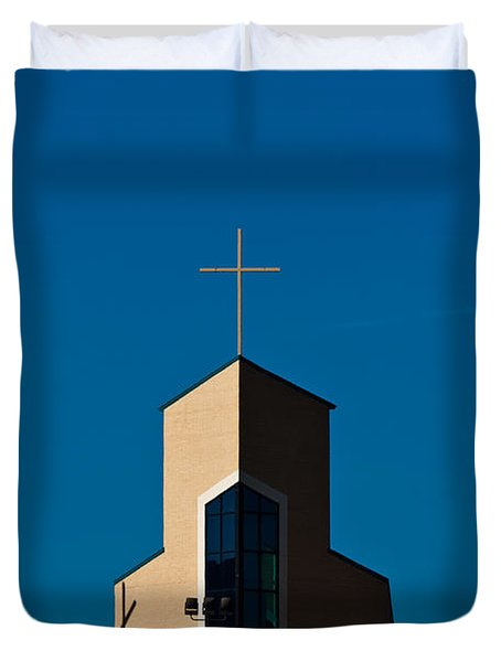 Duvet Cover featuring the photograph Three Crosses Of Livingway Church  by Ed Gleichman