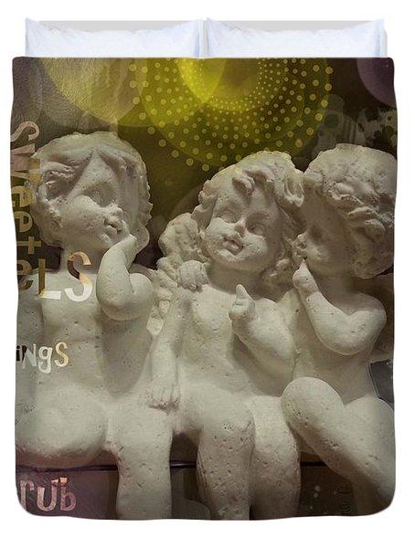 Three Cute Angels Duvet Cover