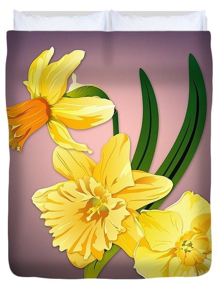 Duvet Cover featuring the digital art Three Daffodils by MM Anderson