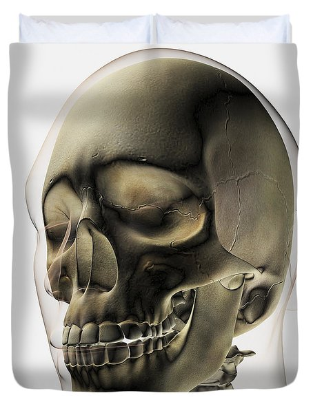 Three Dimensional View Of Human Skull Duvet Cover by Stocktrek Images