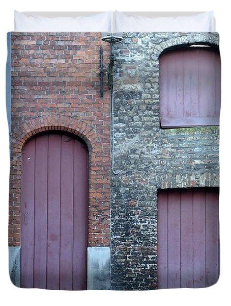 Three Doors And Two Windows Bruges, Belgium Duvet Cover