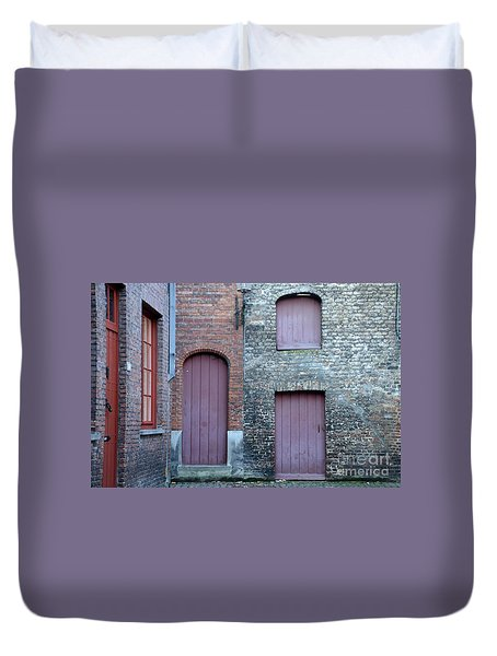 Three Doors And Two Windows Bruges, Belgium Duvet Cover