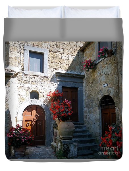 Three Doors In Bagnoregio Duvet Cover by Barbie Corbett-Newmin