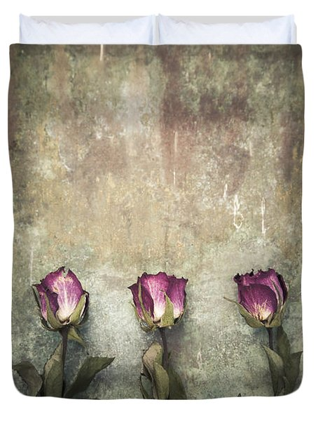 Three Dried Roses Duvet Cover