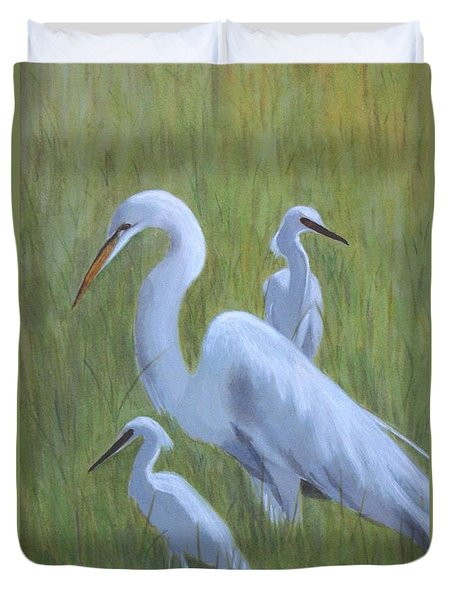 Three Egrets  Duvet Cover