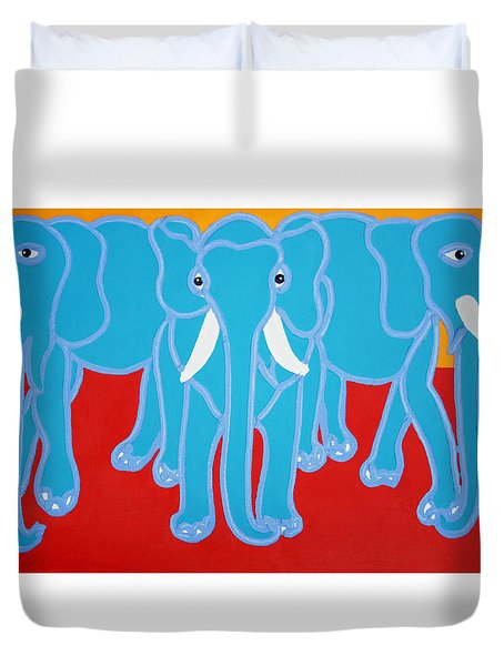 Three Elephants Duvet Cover by Matthew Brzostoski