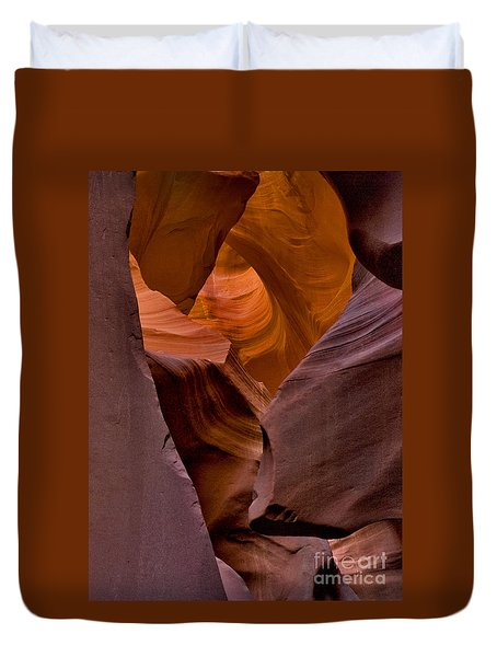 Duvet Cover featuring the photograph Three Faces In Sandstone by Mae Wertz