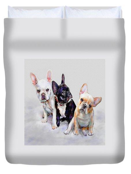 Three Frenchie Puppies Duvet Cover by Jane Schnetlage