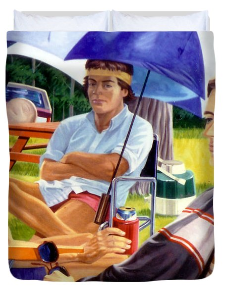 Duvet Cover featuring the painting Three Friends Camping by Stan Esson