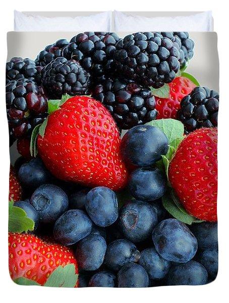 Three Fruit 2 - Strawberries - Blueberries - Blackberries Duvet Cover by Barbara Griffin