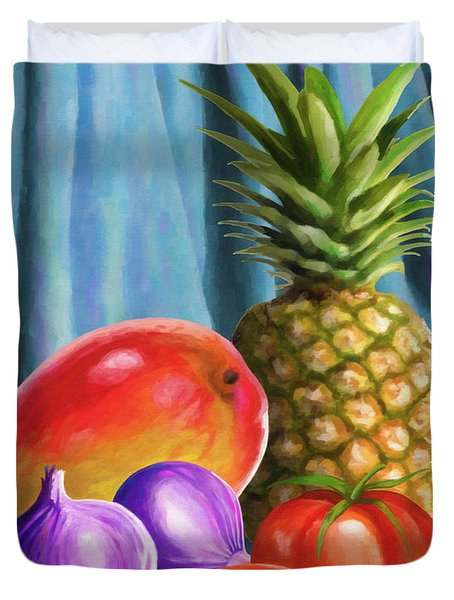 Three Fruits And A Vegetable Duvet Cover by Anthony Mwangi