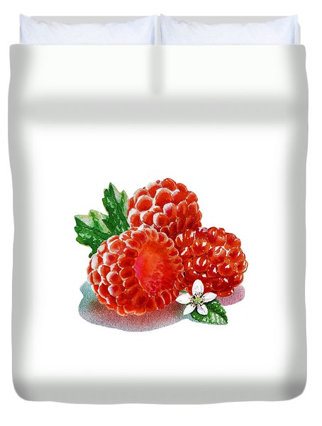 Three Happy Raspberries Duvet Cover