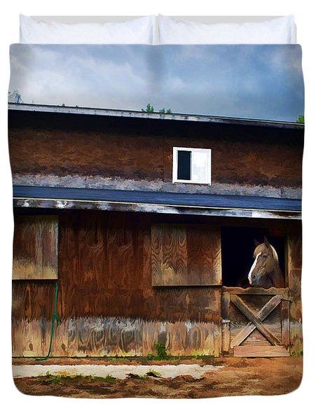 Three Horses In A Barn Duvet Cover by Dan Friend