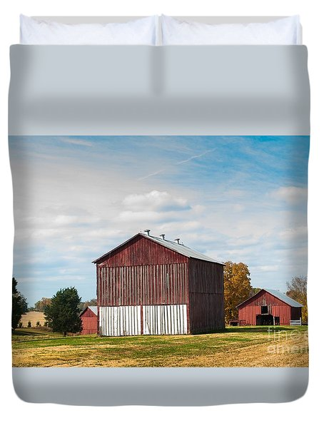 Duvet Cover featuring the photograph Three In One Barns by Debbie Green