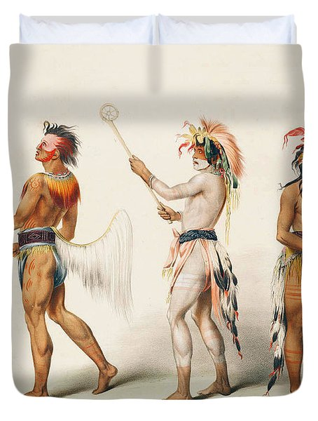 Three Indians Playing Lacrosse Duvet Cover