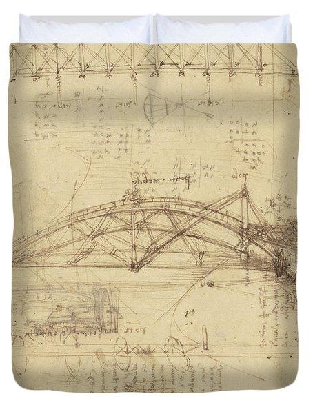 Three Kinds Of Movable Bridge Duvet Cover by Leonardo Da Vinci