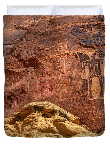 Three Kings Petroglyph - Mcconkie Ranch - Utah Duvet Cover