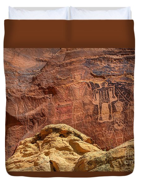 Three Kings Petroglyph - Mcconkie Ranch - Utah Duvet Cover