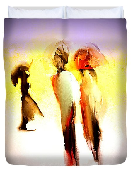 Three Ladies In Abstract Duvet Cover