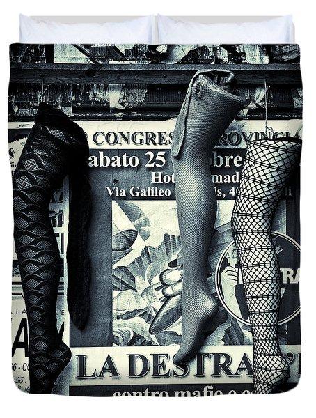 Three Mannequin Legs Duvet Cover by Dave Bowman