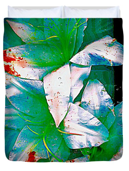 Duvet Cover featuring the photograph Three Lilies With Red by Carolyn Repka