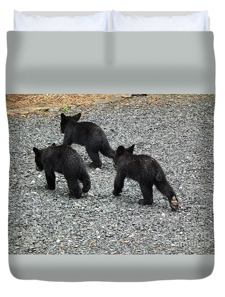 Duvet Cover featuring the photograph Three Little Bears In Step by Jan Dappen