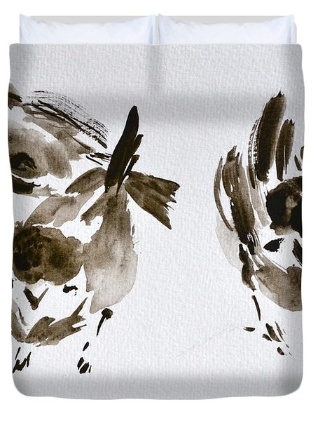 Three Little Birds Perch By My Doorstep Duvet Cover by Beverley Harper Tinsley