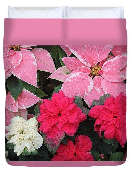 Three Pink Poinsettias Duvet Cover
