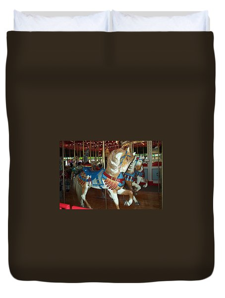 Duvet Cover featuring the photograph Three Ponies In White And Brown - Ct by Barbara McDevitt