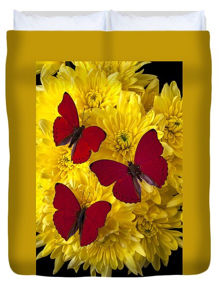 Three Red Butterflys Duvet Cover by Garry Gay
