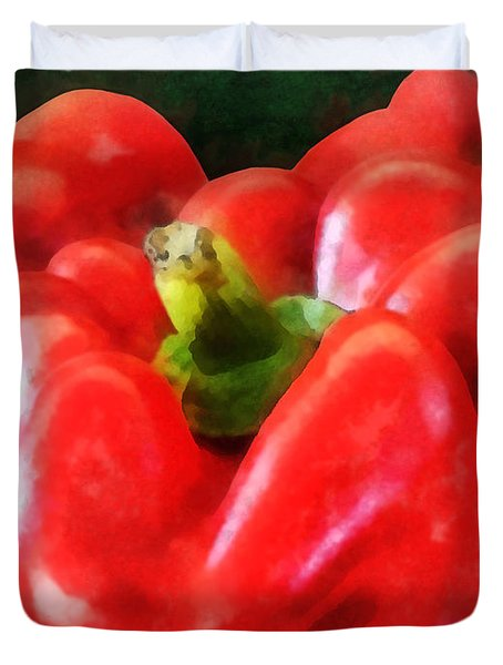 Three Red Peppers Duvet Cover by Susan Savad